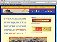Screen shot of Advanced Light Source home page