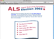 Screen shot of voting site home page